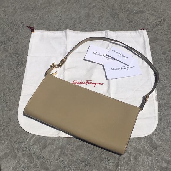 Salvatore Ferragamo Bags   Handbag Taupe Gold Evening Bag   Poshmark 096dc6b004